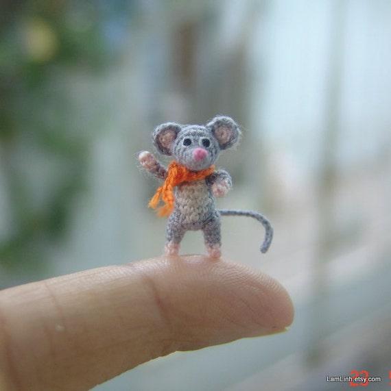 Miniatur Kunst Graue Maus Mikro Amigurumi Häkeln Tier Etsy