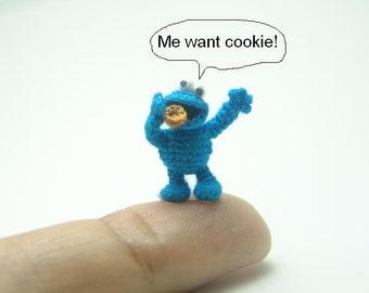 2/3 inch crochet blue monster doll - micro amigurumi miniature muppet
