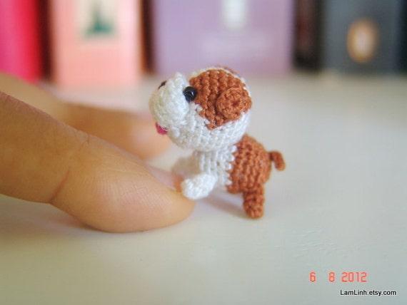 Häkeln Sie Mini Häkeln Welpen Stofftier Puppenhaus Dekor Etsy