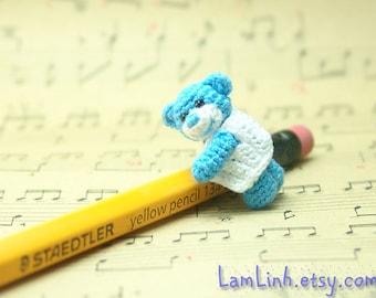 crochet miniature bear 1 inch - dollhouse amigurumi blue Teddy bear - tiny stuffed animal