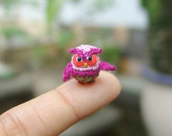 1/2 inch tiny crochet owl - Tiny amigurumi animal