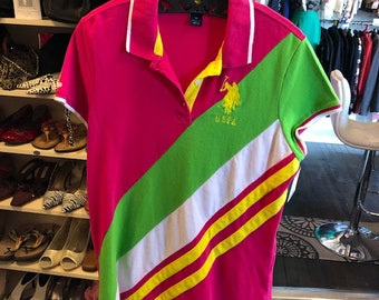 060330c4 Vintage 90's White, Lime and Pink Polo Shirt - Bust 37 - 90's Fashion -  U.S. Polo Association - Women's Polo Shirt - 90's Style - Polos