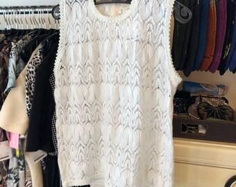 5a045ffb3bf8 Vintage 60's Glencrest White Pointelle Sleeveless Tank Top - Bust 32 -  Style - Fashion - Women's Sweater - White Knit Top - Sleeveless Top