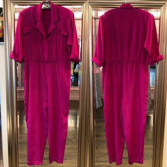 Vintage 80's Fuschia Jumpsuit - 80's Hot Pink One
