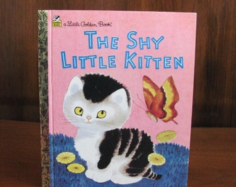 "Vintage 80's ""The Little Shy Kitten"" A Little Golden Book - 1988 - Children's Picture Book - Children's Book - 80's Children"