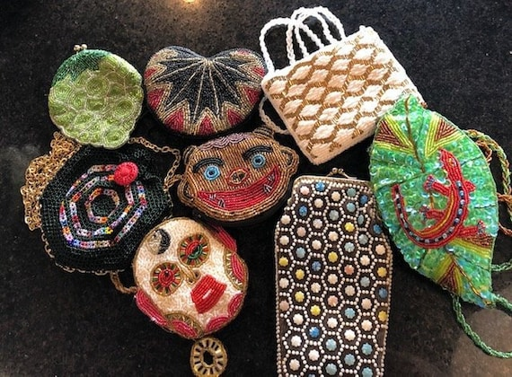 Vintage Lot of 8 Vintage Beaded Mini Clutch Purses