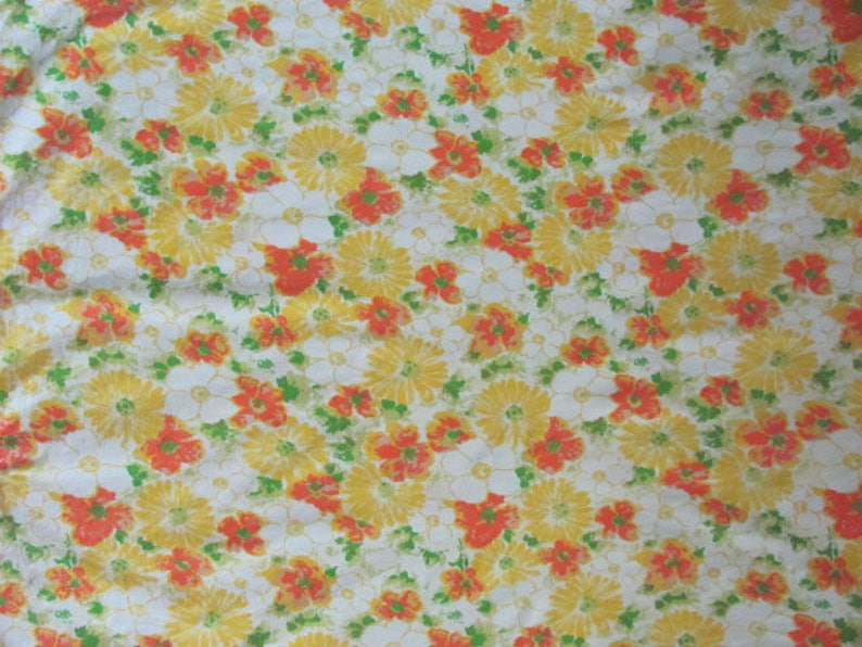 Vintage 70/'s Retro Daisy Floral Double Flat Sheet Cottage Linens 70/'s Flat Bed Sheet 70/'s Bedding 70/'s Cotton Sheet Sears