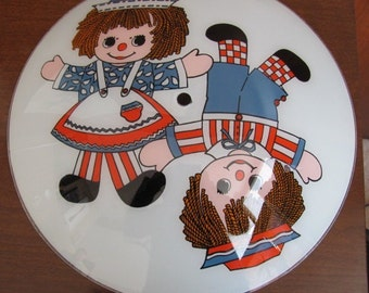 Vintage 70's Raggedy Ann and Andy Glass Bedroom Ceiling Light Shade - Children's Bedroom - 70's Home Decor - 70's Light Fixture - Lighting