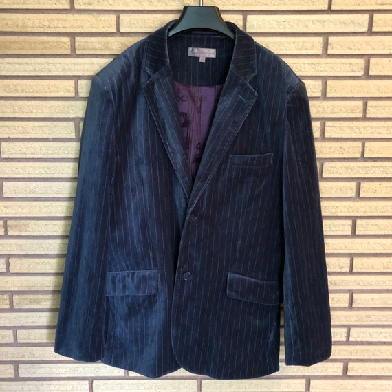 Vintage 80's Blue Velvet Pinstripe Blazer - Chest