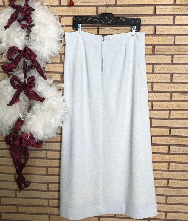 Women/'s Skirt Waist 34 Formal Skirt 70/'s Straight Skirt Full Length Skirt Vintage 70/'s Metallic Silver Skirt 70/'s Party Attire