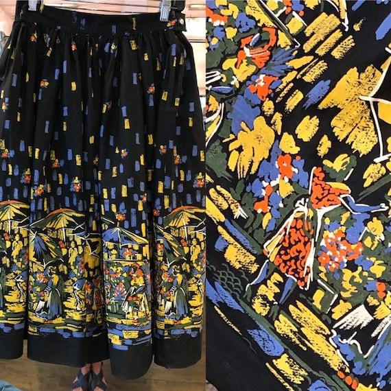 Vintage Flower Market Circle Skirt - Waist 27 - 60