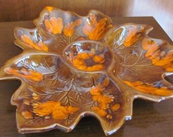 Vintage 60's Mid-Century Mod Maple Leaf Orange and Brown Divided Ceramic Serving Platter - 60's Ceramic Platter - 60's Appetizer Platter