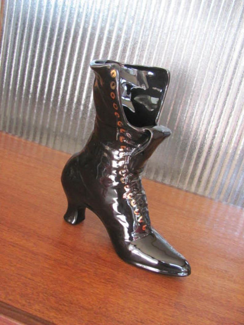 Vintage 70/'s Black Ceramic Granny Boot Vase Granny Boot Vase Fine Art Ceramics Rita Kelly Ceramic Boot Figurine Collectible
