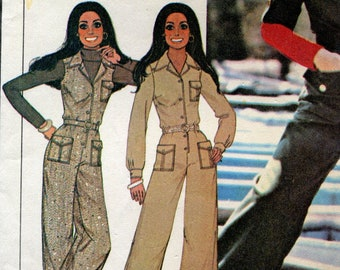 McCall's 4682 Vintage 70s Cargo Utility Jumpsuit Marlo Thomas Original Sewing Pattern SIZE 10 B32.5