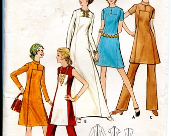 Butterick 6027 A-Line Dress Tunic Pants w Seam Interest Mod Vintage 1960s Original Sewing Pattern 16 B38 Uncut