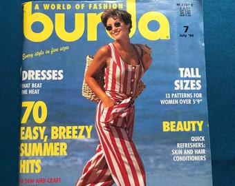 Burda ENGLISH World of Fashion Magazine Sewing Patterns July 1994 Uncut