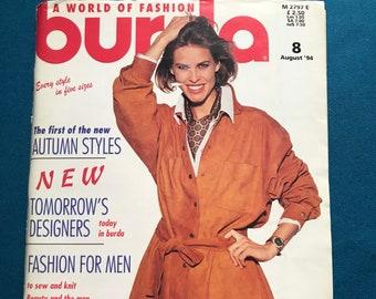 Burda ENGLISH World of Fashion Magazine Sewing Patterns August 1994 Uncut