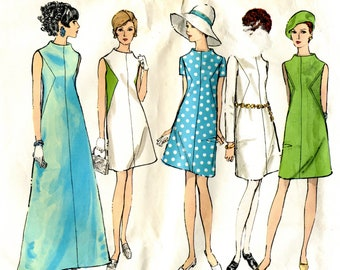 Vogue 1944 Mod Dress Basic Design Original Sewing Pattern Size 14 B36