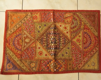 Indian mirrorwork  wall hanging with  very detailed embroidery