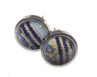 Teeny Stud Earrings. Stainless steel and Dark Moroccan chiyogami
