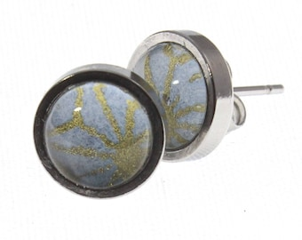 Teeny Stud Earrings. Stainless steel and Light Moroccan chiyogami