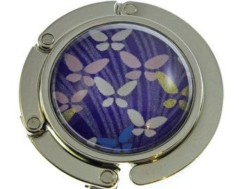 Folding Purse Hook.  Butterflies on Royal Blue Chiyogami