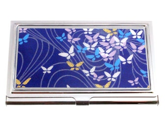 Business card case. Made with chiyogami paper and hand-poured resin. Butterflies on Royal chiyogami