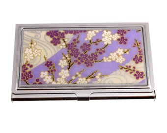 Business card case. Made with chiyogami paper and hand-poured resin. Purple Bouquet chiyogami