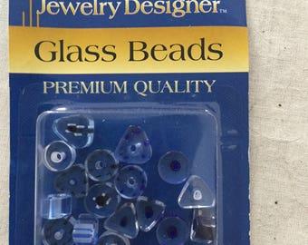 Cane beads, glass beads, 4-6mm, denim,premium quality