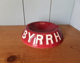 French Vintage Aperitif  BYRRH advertising faience  ashtray.