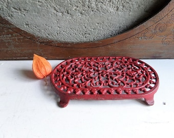 Antique Art Nouveau Red Cast Iron Trivet/ Cottage chic,Chic decor