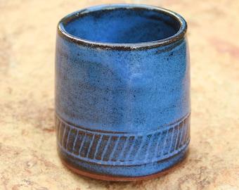 Extra Small Blue Pottery Flower Pot Succulent Pot NC Pottery Air Plant Pot