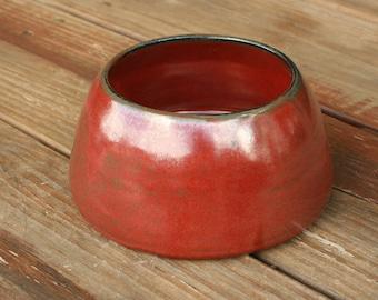Pottery Spaniel Bowl Long Earred Dog Dish Red Glaze NC Pottery