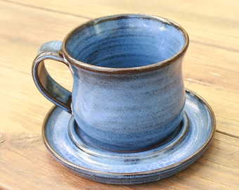 Cobalt Blue Pottery Cup and Saucer NC Pottery