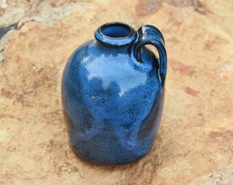 Small Blue Pottery Jug Seagrove NC Traditional Pottery Miniature Jug