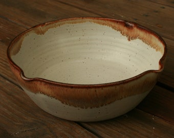 Large White Pottery Fruit Bowl Brown Rim NC Pottery Serving Bowl