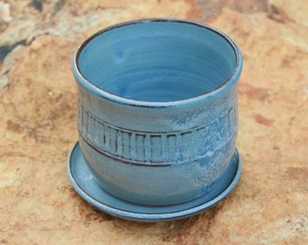 Light Blue Pottery Flower Pot and Saucer Succulent Pot NC Pottery