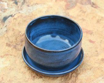 Small Blue Pottery Flower Pot Succulent Pot and Saucer NC Pottery