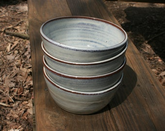 4 White Pottery Cereal Bowls NC Pottery