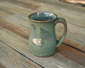 Rustic Pottery Mug Handle Green Glaze NC Pottery Farmhouse Ware