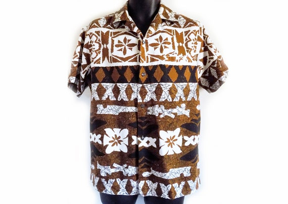 1950s-60s loop collar Hawaiian shirt / brown / Tik