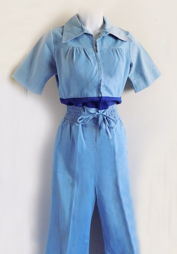 1970s Jump Suit in Blue corduroy with elastic wais