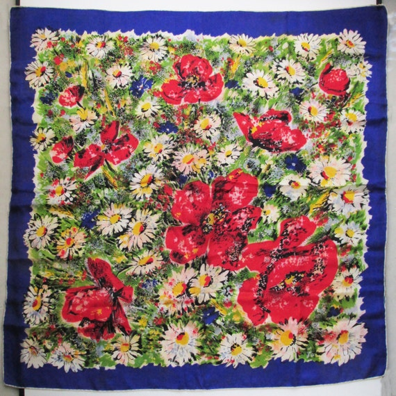 1940s Large Silk Scarf with Impressionistic Flowe… - image 2