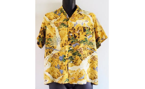 1950s PENNY'S cold rayon loop collar Hawaiian Tiki
