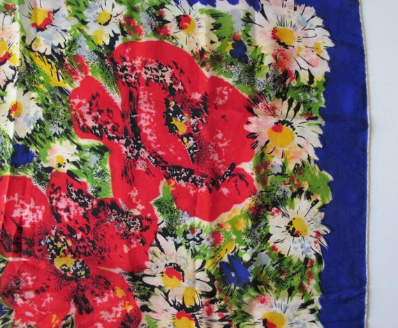 1940s Large Silk Scarf with Impressionistic Flowe… - image 5