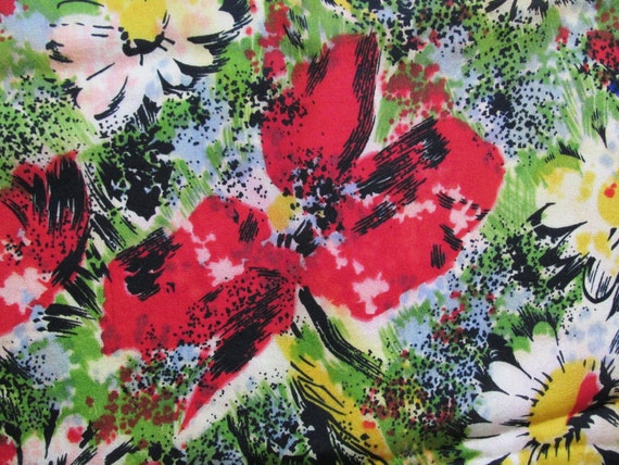 1940s Large Silk Scarf with Impressionistic Flowe… - image 3