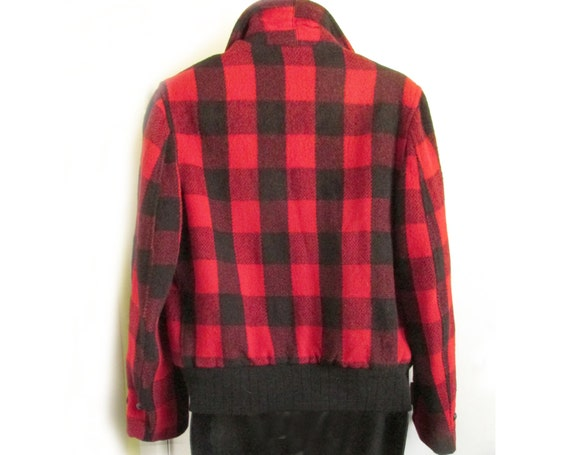 1940s-50s red plaid wool bomber jacket - image 5