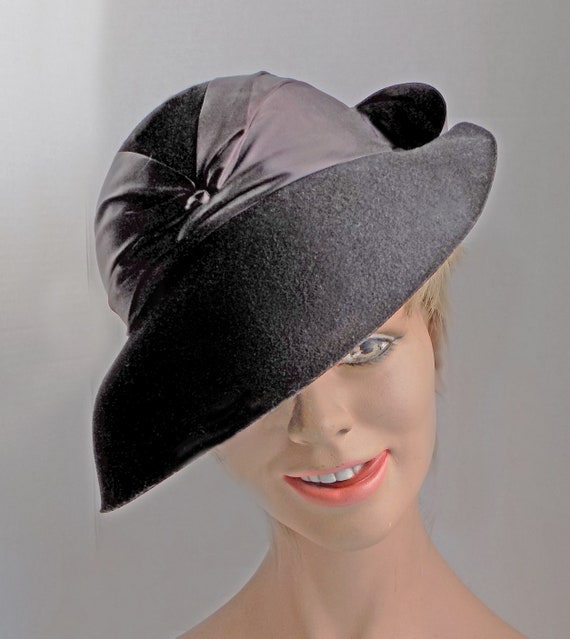 Rare 1930s black slouch hat with wide ribbon and … - image 6