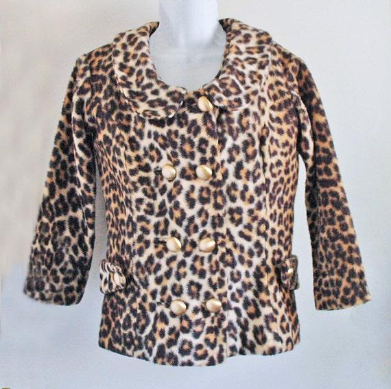 1960s Bombshell MOD Hand made fake leopard fur Jac