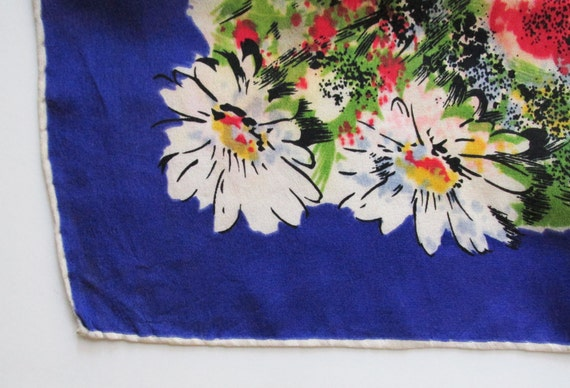 1940s Large Silk Scarf with Impressionistic Flowe… - image 4